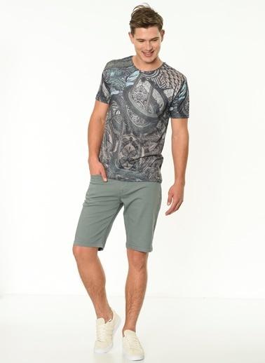 Lee Cooper Desenli T-Shirt Yeşil